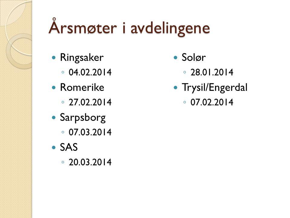 Årsmøter i avdelingene Ringsaker ◦ 04.02.2014 Romerike ◦ 27.02.2014 Sarpsborg ◦ 07.03.2014 SAS ◦ 20.03.2014 Solør ◦ 28.01.2014 Trysil/Engerdal ◦ 07.02