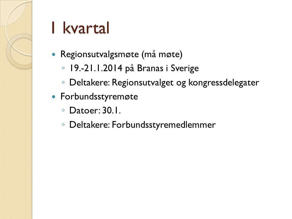2 kvartal Regionsutvalgsmøte (må møte) ◦ 7.