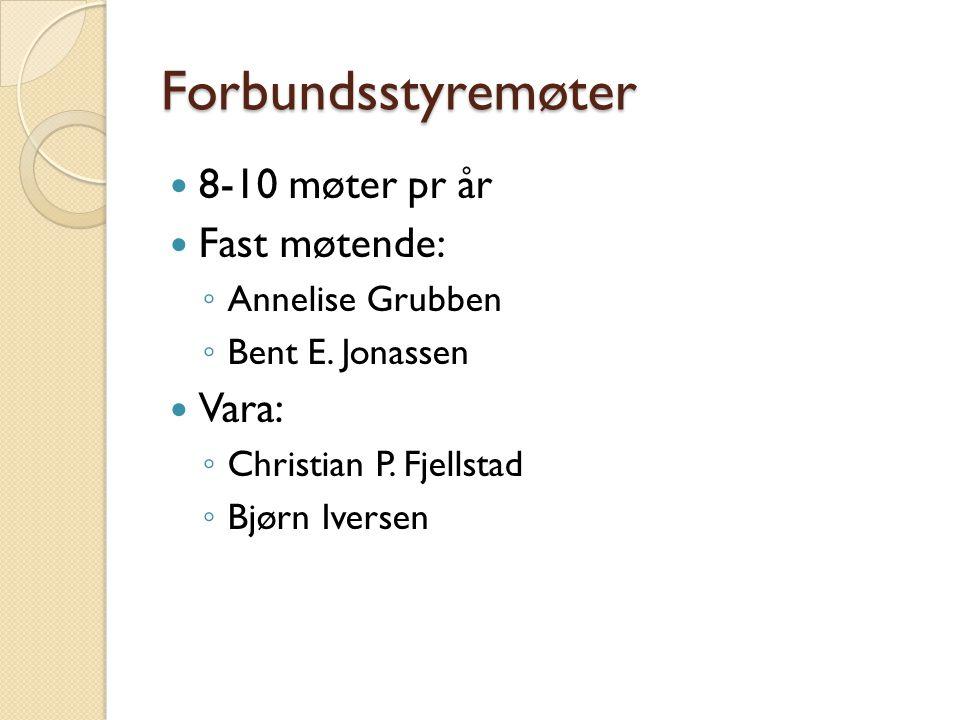 Forbundsstyremøter 8-10 møter pr år Fast møtende: ◦ Annelise Grubben ◦ Bent E. Jonassen Vara: ◦ Christian P. Fjellstad ◦ Bjørn Iversen