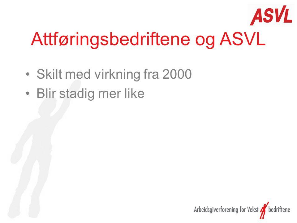 Attføringsbedriftene og ASVL Skilt med virkning fra 2000 Blir stadig mer like