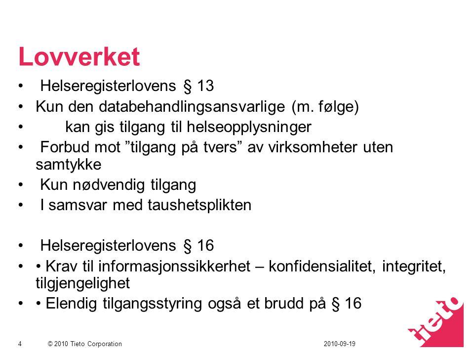 © 2010 Tieto Corporation Lovverket Helseregisterlovens § 13 Kun den databehandlingsansvarlige (m.