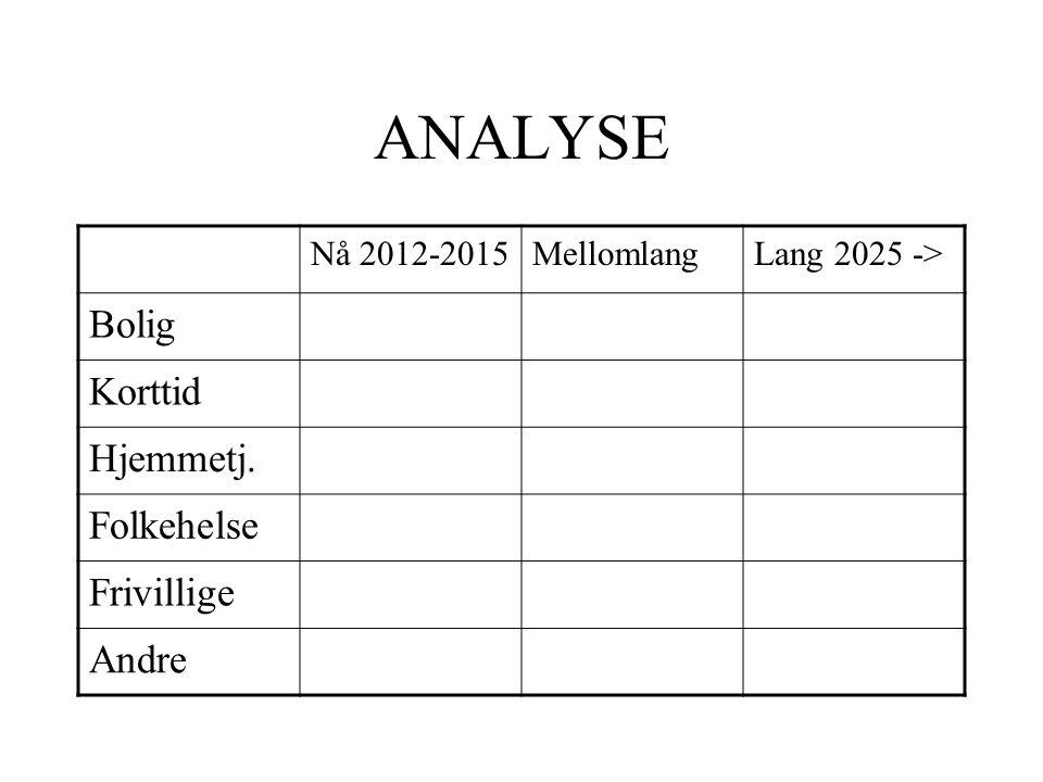 ANALYSE Nå 2012-2015MellomlangLang 2025 -> Bolig Korttid Hjemmetj. Folkehelse Frivillige Andre