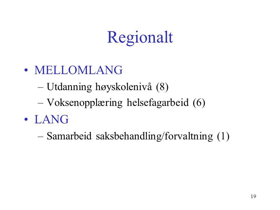Regionalt MELLOMLANG –Utdanning høyskolenivå (8) –Voksenopplæring helsefagarbeid (6) LANG –Samarbeid saksbehandling/forvaltning (1) 19