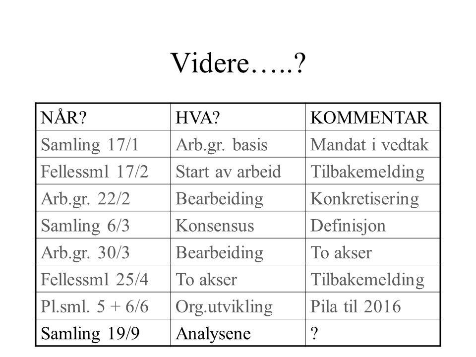 Videre…... NÅR HVA KOMMENTAR Samling 17/1Arb.gr.