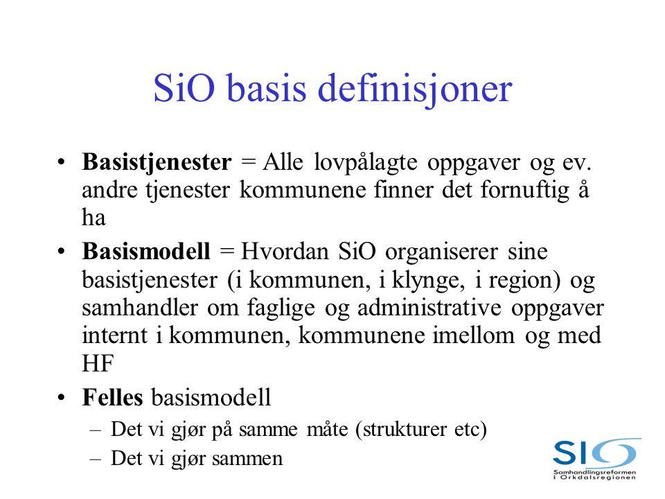 SiO basis definisjoner Basistjenester = Alle lovpålagte oppgaver og ev.