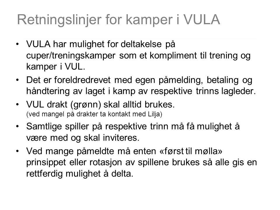 VULA har mulighet for deltakelse på cuper/treningskamper som et kompliment til trening og kamper i VUL. Det er foreldredrevet med egen påmelding, beta