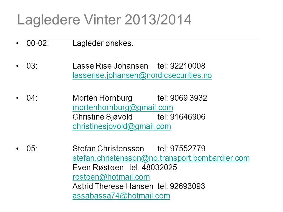 Lagledere Vinter 2013/2014 00-02: Lagleder ønskes. 03:Lasse Rise Johansentel: 92210008 lasserise.johansen@nordicsecurities.no lasserise.johansen@nordi