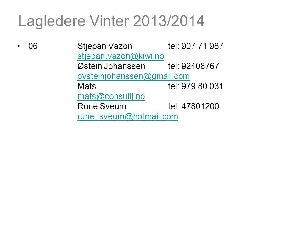 Lagledere Vinter 2013/2014 06Stjepan Vazontel: 907 71 987 stjepan.vazon@kiwi.no Østein Johanssen tel: 92408767 oysteinjohanssen@gmail.com Mats tel: 97