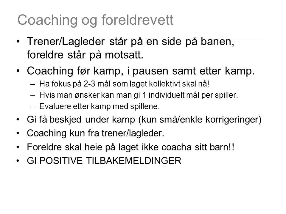 Coaching og foreldrevett Trener/Lagleder står på en side på banen, foreldre står på motsatt. Coaching før kamp, i pausen samt etter kamp. –Ha fokus på