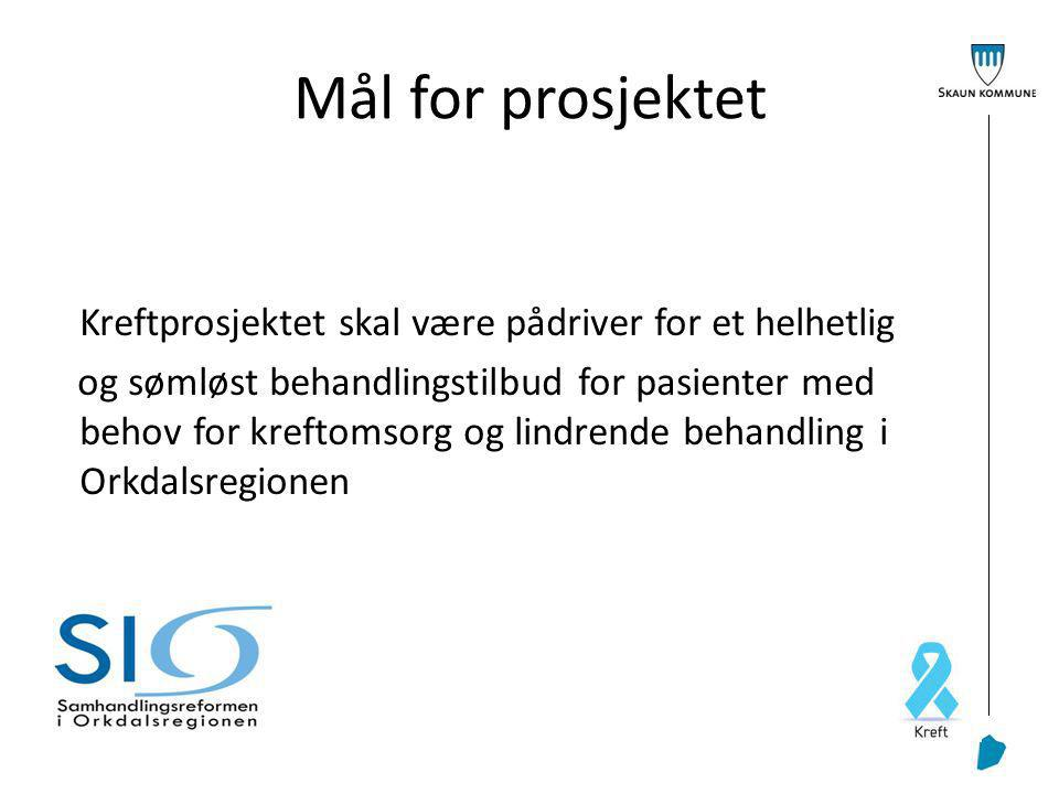 Mål for prosjektet Kreftprosjektet skal være pådriver for et helhetlig og sømløst behandlingstilbud for pasienter med behov for kreftomsorg og lindrende behandling i Orkdalsregionen