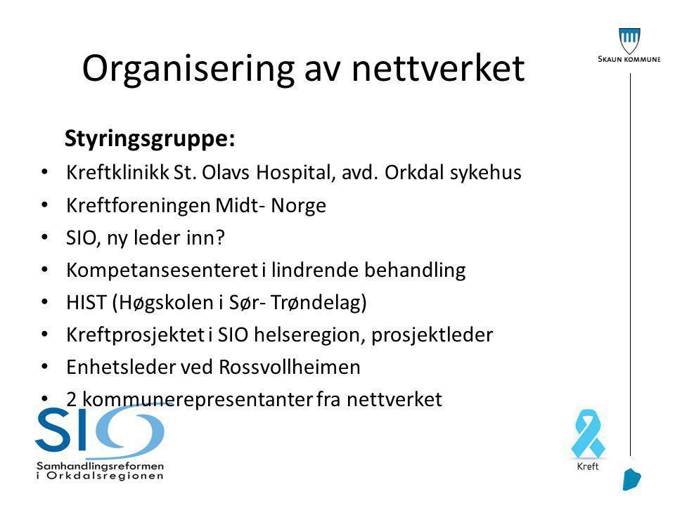Organisering av nettverket Styringsgruppe: Kreftklinikk St.