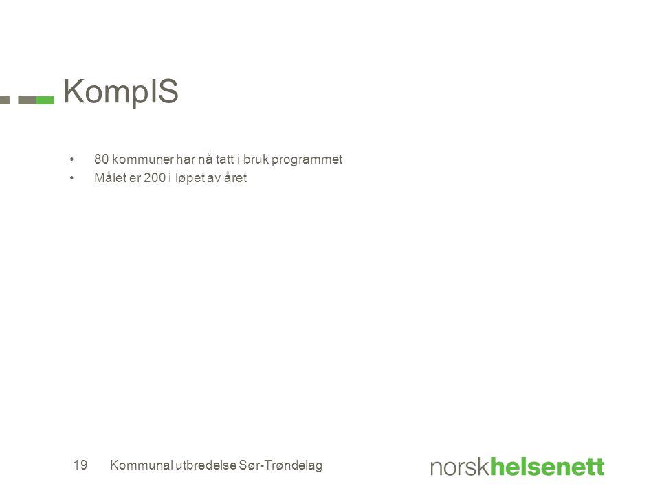 KompIS 80 kommuner har nå tatt i bruk programmet Målet er 200 i løpet av året Kommunal utbredelse Sør-Trøndelag19
