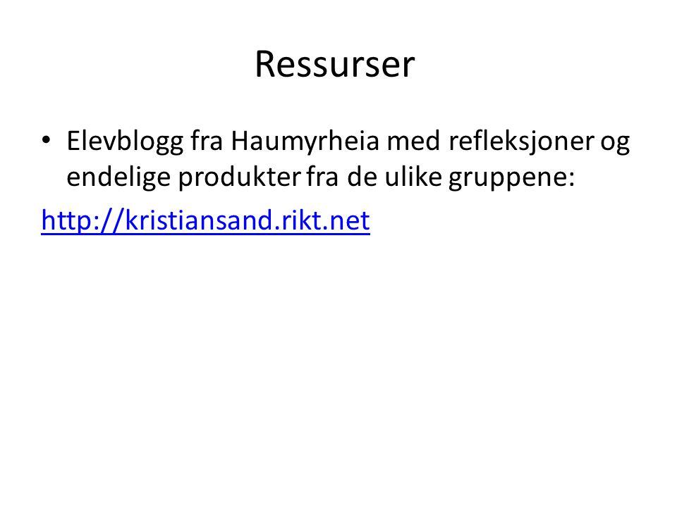Ressurser Elevblogg fra Haumyrheia med refleksjoner og endelige produkter fra de ulike gruppene: http://kristiansand.rikt.net