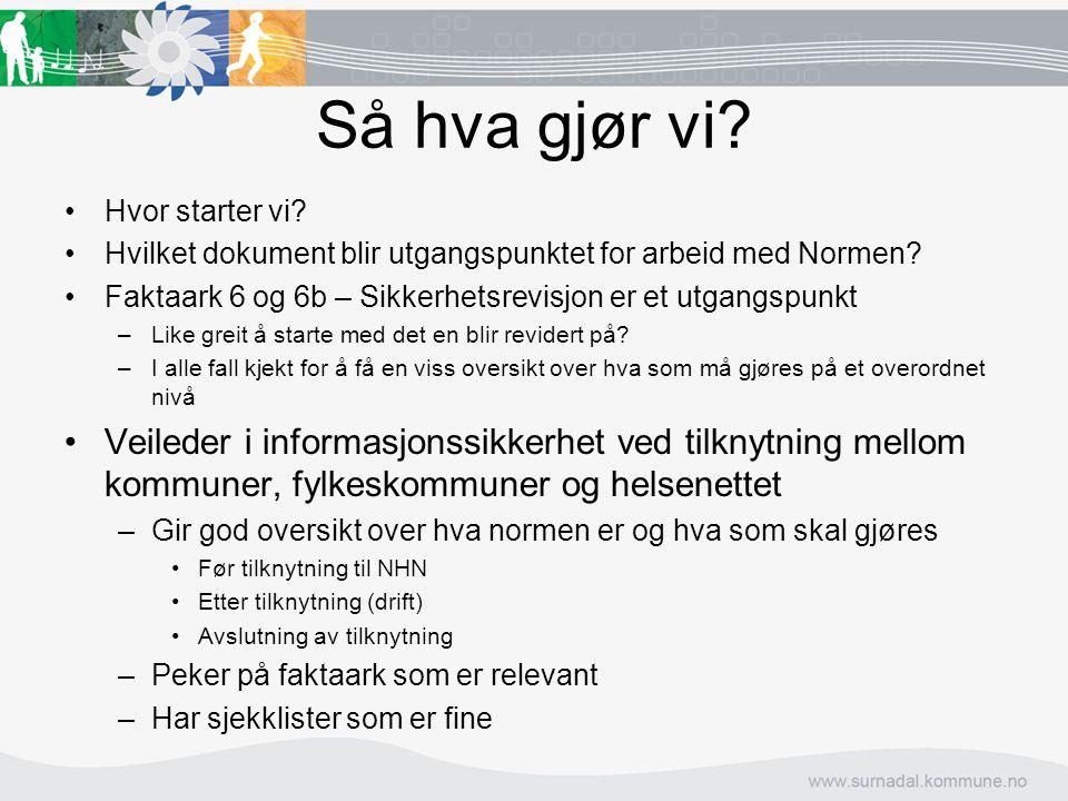 Så hva gjør vi? Hvor starter vi? Hvilket dokument blir utgangspunktet for arbeid med Normen? Faktaark 6 og 6b – Sikkerhetsrevisjon er et utgangspunkt