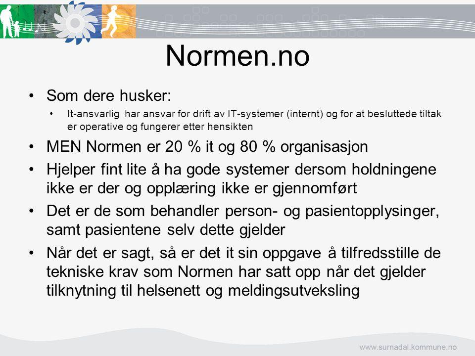 Normen.no Som dere husker: It-ansvarlig har ansvar for drift av IT-systemer (internt) og for at besluttede tiltak er operative og fungerer etter hensi