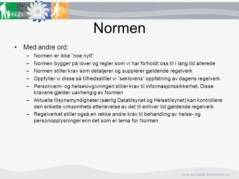 """Normen Med andre ord: –Normen er ikke """"noe nytt"""" –Normen bygger på lover og regler som vi har forholdt oss til i lang tid allerede –Normen stiller kra"""