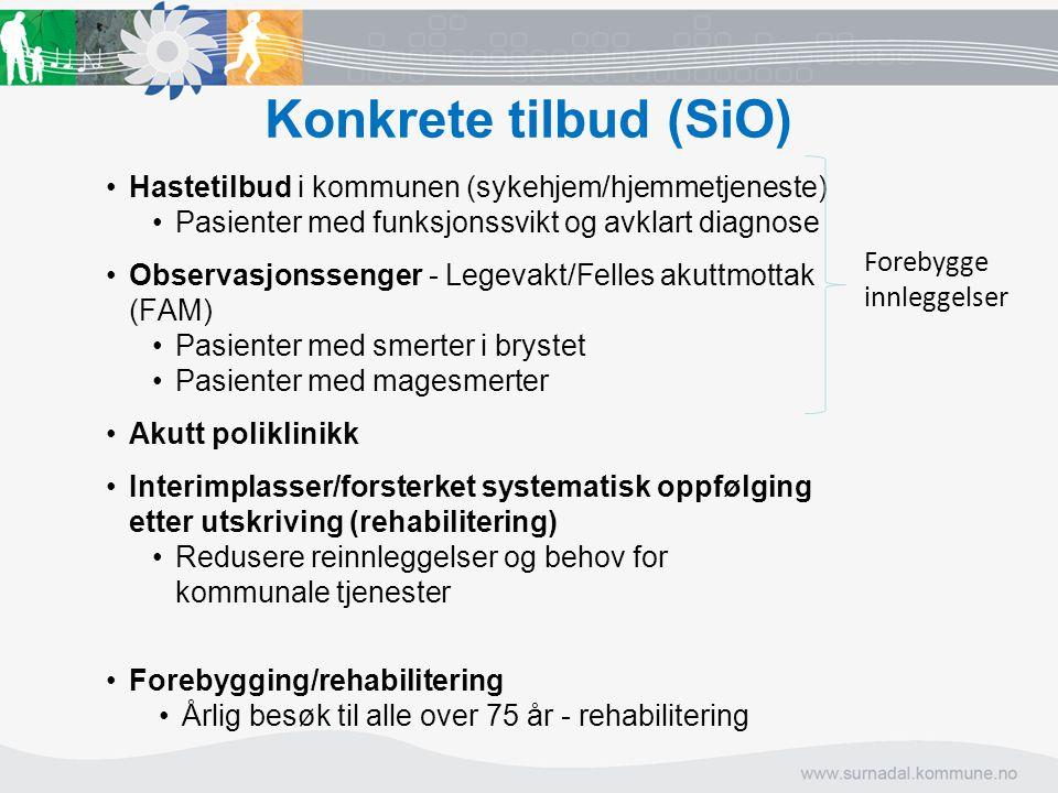 Konkrete tilbud (SiO) Hastetilbud i kommunen (sykehjem/hjemmetjeneste) Pasienter med funksjonssvikt og avklart diagnose Observasjonssenger - Legevakt/