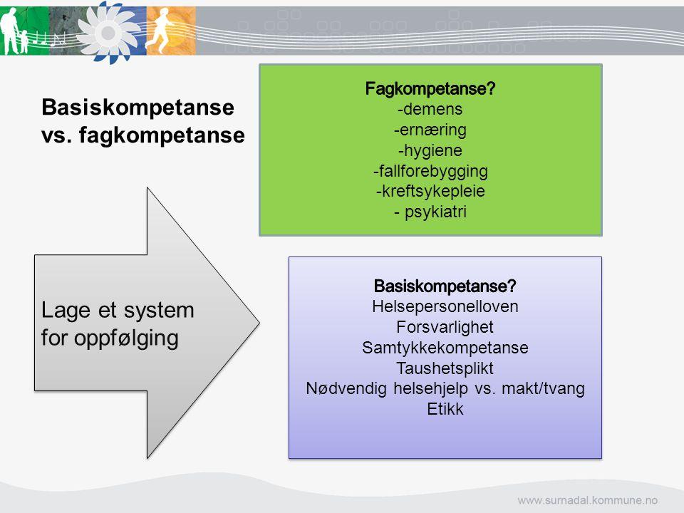 Basiskompetanse vs. fagkompetanse Lage et system for oppfølging