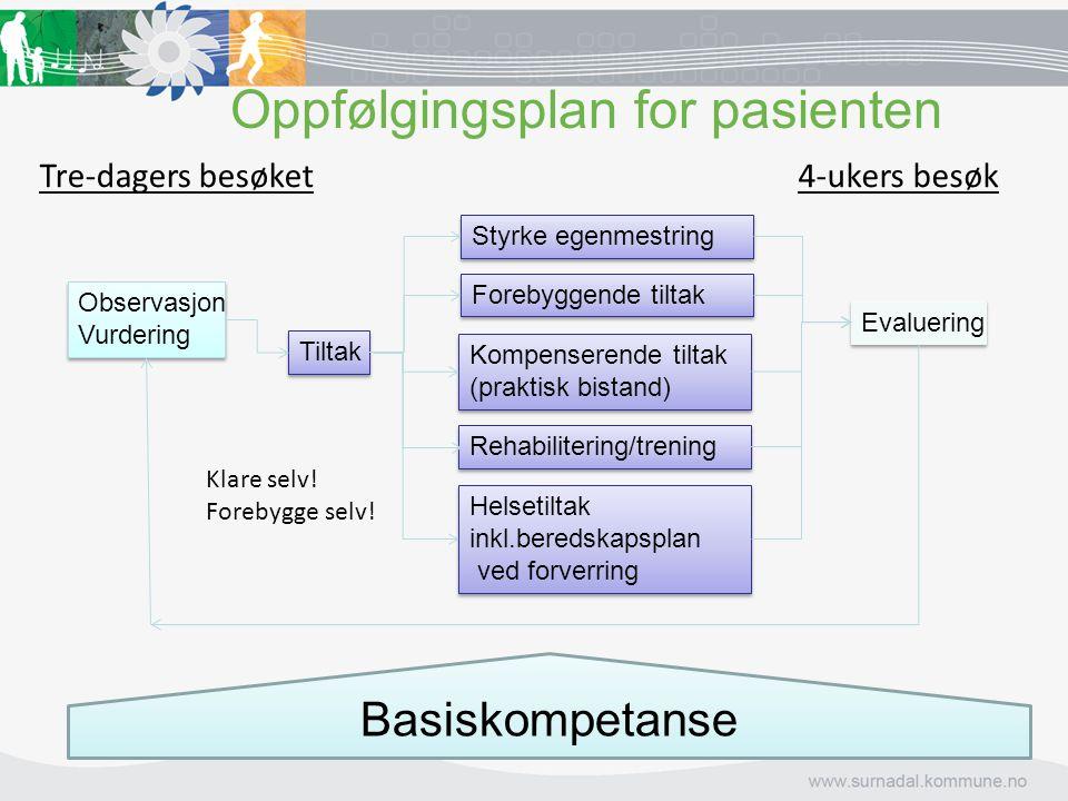 Oppfølgingsplan for pasienten Observasjon Vurdering Tiltak Styrke egenmestring Forebyggende tiltak Kompenserende tiltak (praktisk bistand) Helsetiltak