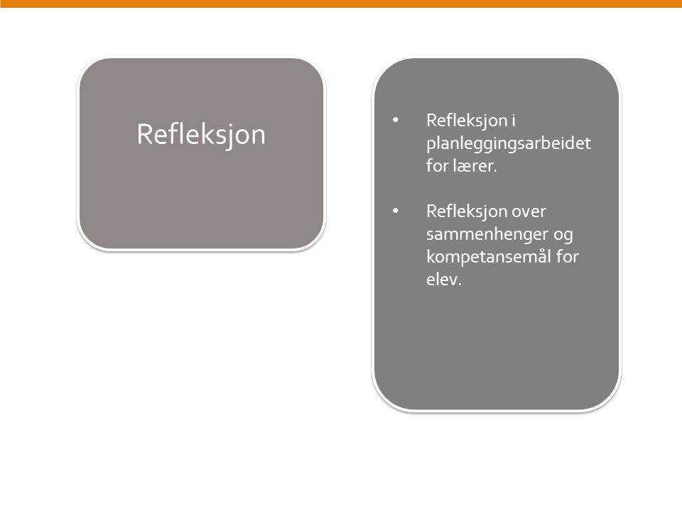 Refleksjon Refleksjon i planleggingsarbeidet for lærer. Refleksjon over sammenhenger og kompetansemål for elev. Refleksjon i planleggingsarbeidet for