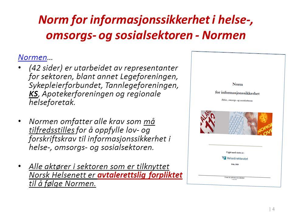 Lovgrunnlag «Normen er først og fremst basert på personvern og helselovgivningens krav til å etablere tilfredsstillende informasjonssikkerhet for systemer inneholdende helse og personopplysninger, jf.