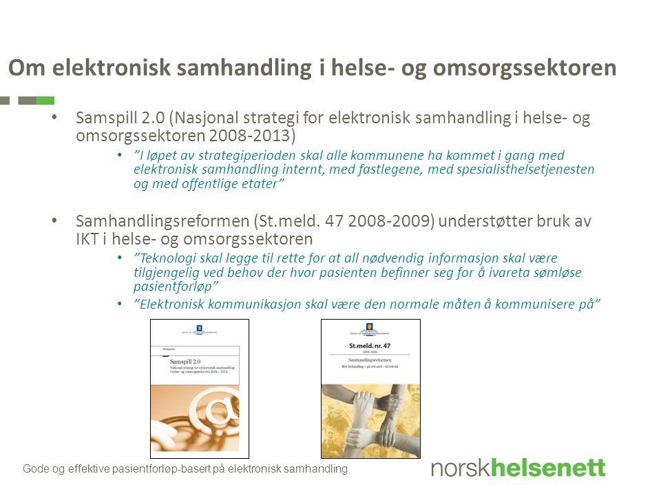 Om elektronisk samhandling i helse- og omsorgssektoren Samspill 2.0 (Nasjonal strategi for elektronisk samhandling i helse- og omsorgssektoren 2008-20