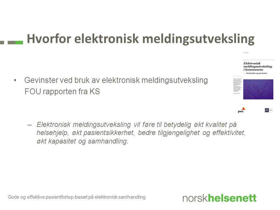 Hvorfor elektronisk meldingsutveksling Gevinster ved bruk av elektronisk meldingsutveksling FOU rapporten fra KS –Elektronisk meldingsutveksling vil f