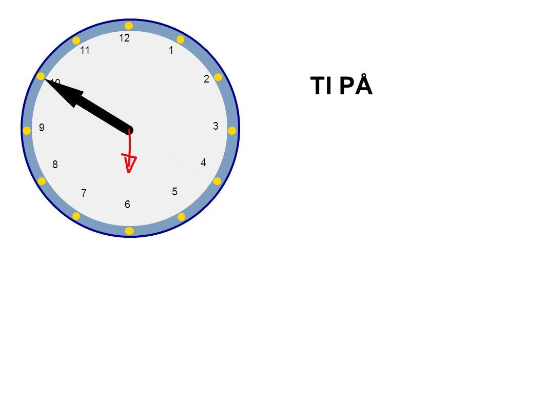 1 2 3 4 5 6 7 8 9 10 12 11 Hvor mange er klokka? Klokka er fem på seks.