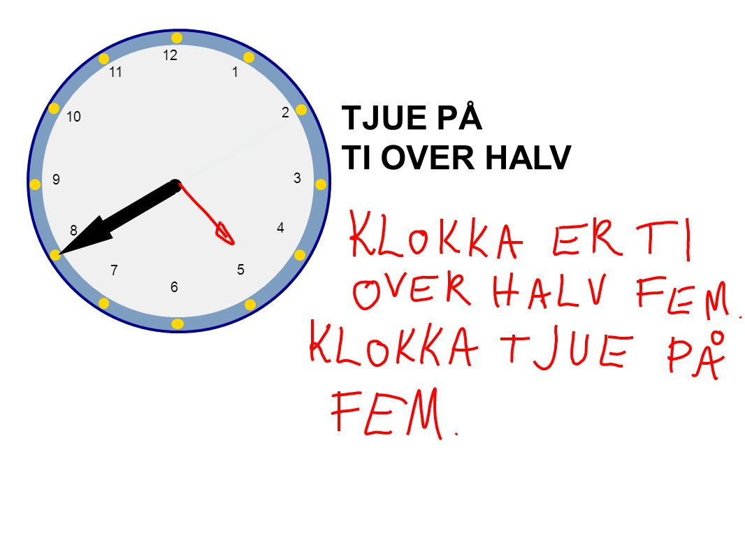 1 2 3 4 5 6 7 8 9 10 12 11 TJUE PÅ TI OVER HALV