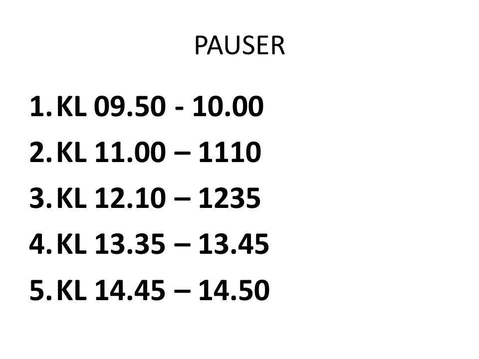 PAUSER 1.KL 09.50 - 10.00 2.KL 11.00 – 1110 3.KL 12.10 – 1235 4.KL 13.35 – 13.45 5.KL 14.45 – 14.50