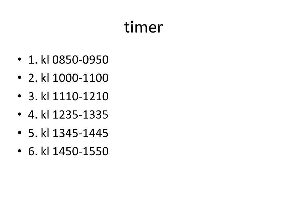 timer 1. kl 0850-0950 2. kl 1000-1100 3. kl 1110-1210 4. kl 1235-1335 5. kl 1345-1445 6. kl 1450-1550
