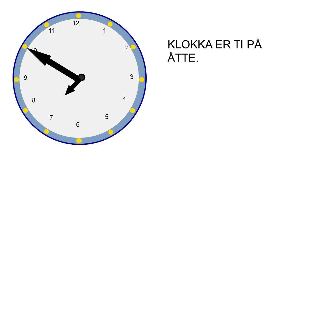 1 2 3 4 5 6 7 8 9 10 12 11 KLOKKA ER TI PÅ ÅTTE.