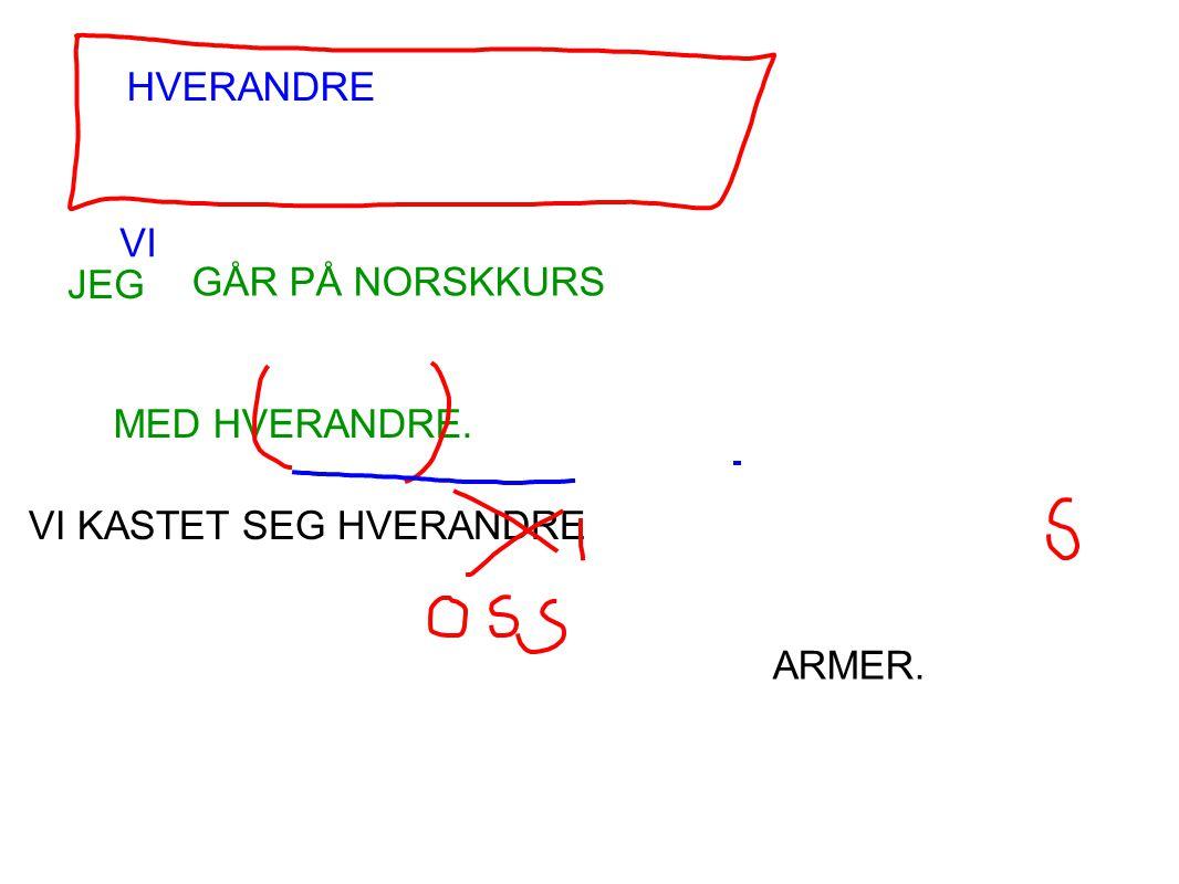 HVERANDRE JEG GÅR PÅ NORSKKURS MED HVERANDRE. VI KASTET SEG HVERANDRE ARMER. VI