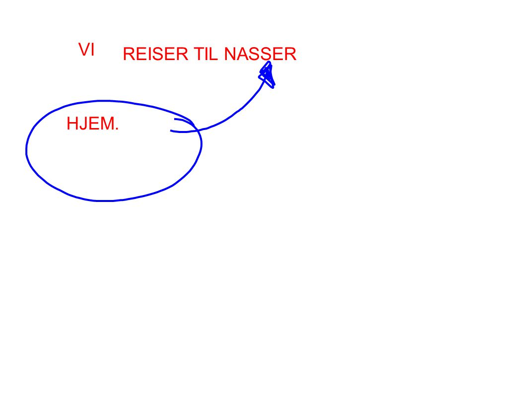 VI REISER TIL NASSER HJEM.