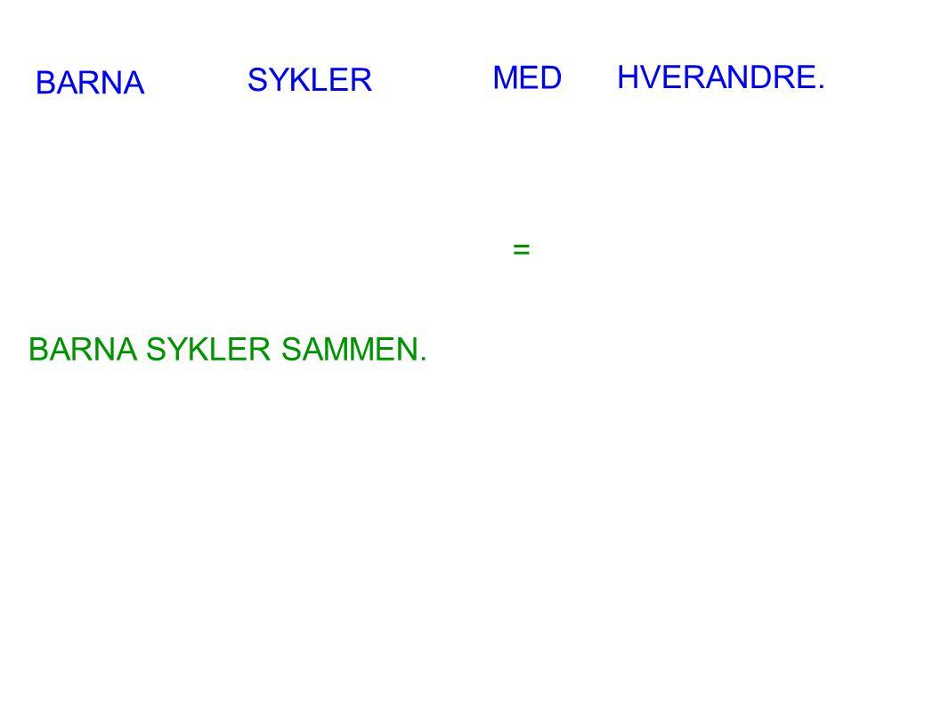 BARNA SYKLER MED HVERANDRE. BARNA SYKLER SAMMEN. =