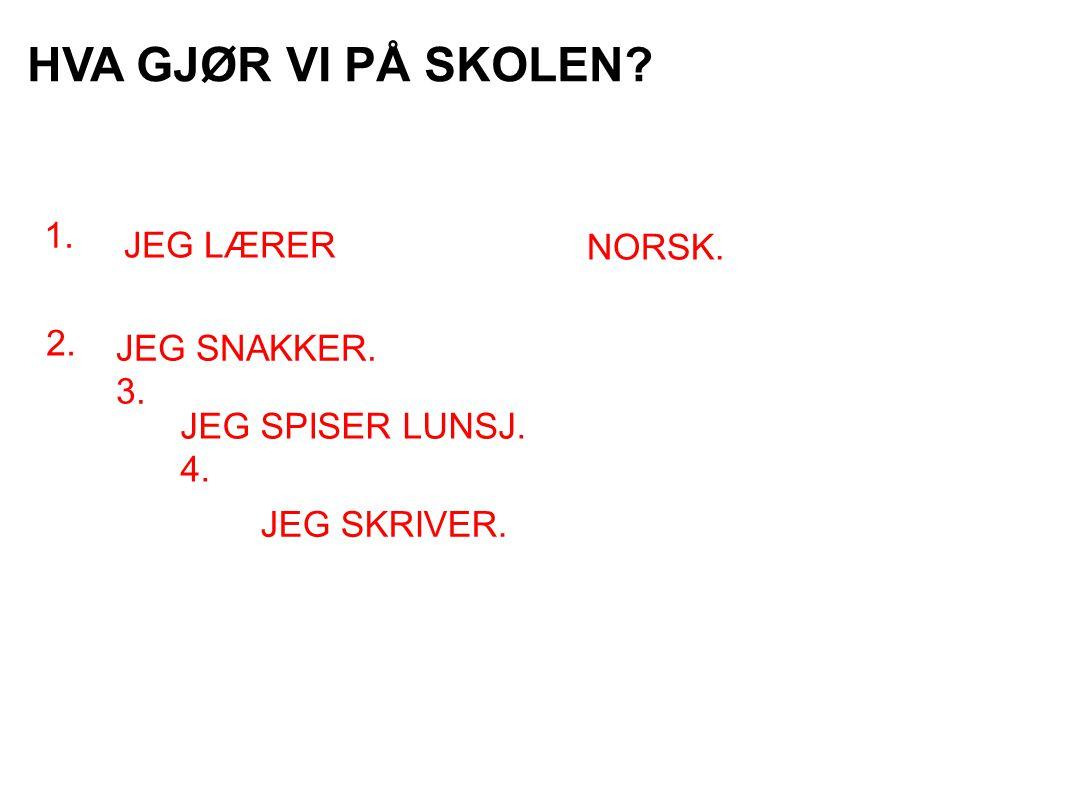 HVA GJØR VI PÅ SKOLEN? 1. JEG LÆRER 2. JEG SNAKKER. 3. JEG SPISER LUNSJ. 4. NORSK. JEG SKRIVER.
