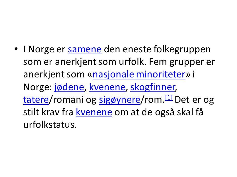 I Norge er samene den eneste folkegruppen som er anerkjent som urfolk. Fem grupper er anerkjent som «nasjonale minoriteter» i Norge: jødene, kvenene,