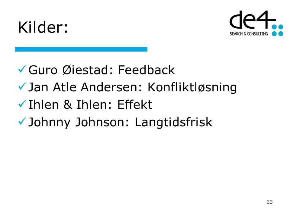 33 Kilder: Guro Øiestad: Feedback Jan Atle Andersen: Konfliktløsning Ihlen & Ihlen: Effekt Johnny Johnson: Langtidsfrisk