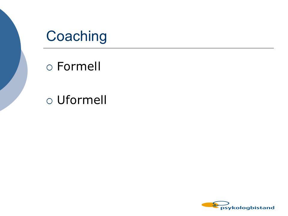 Hva gjør en leder som driver coaching l Skaper en kontekst l Avgrenser og skaper fokus l Utvikler gode mål l Stiller gode/virkningsfulle spørsmål l Er 100 % tilstede - lytte aktivt