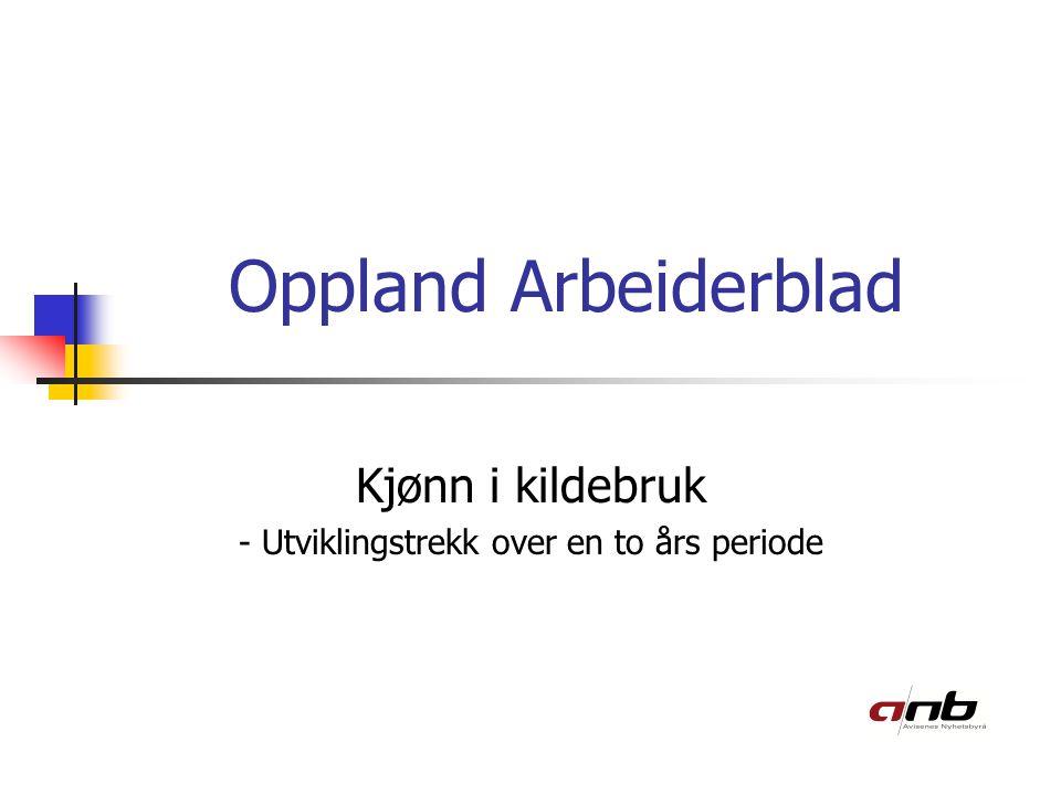 Oppland Arbeiderblad Kjønn i kildebruk - Utviklingstrekk over en to års periode