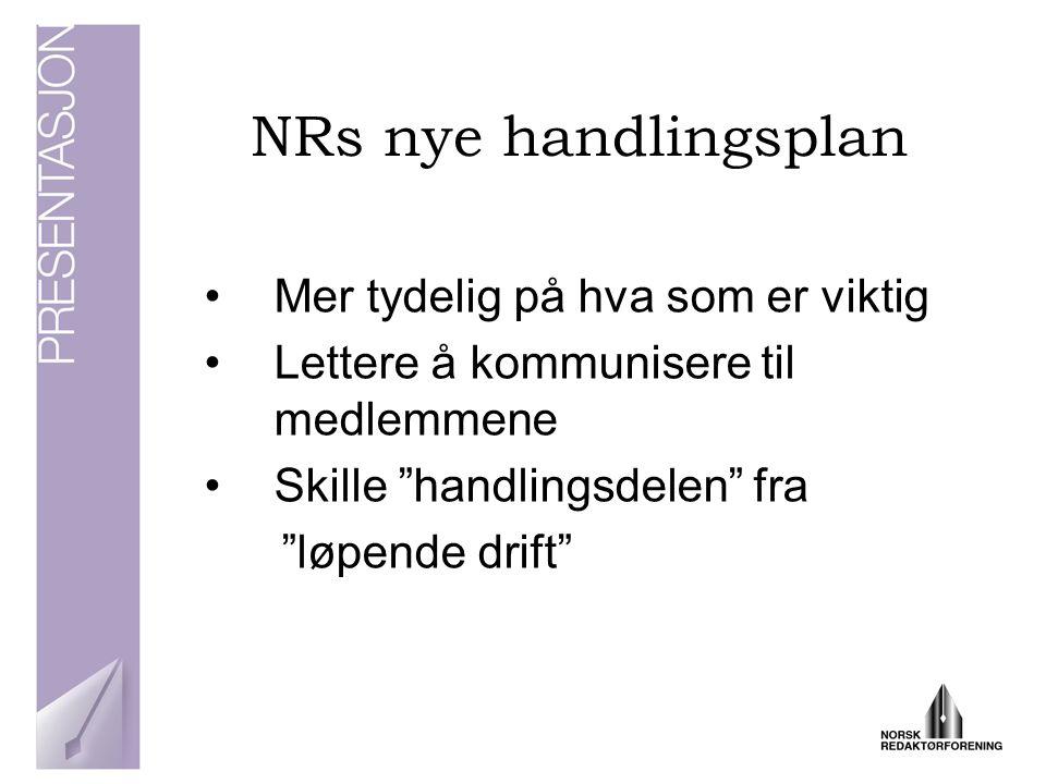 NRs nye handlingsplan Mer tydelig på hva som er viktig Lettere å kommunisere til medlemmene Skille handlingsdelen fra løpende drift