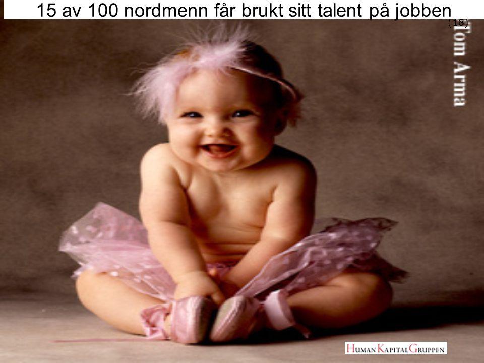 (18) 15 av 100 nordmenn får brukt sitt talent på jobben