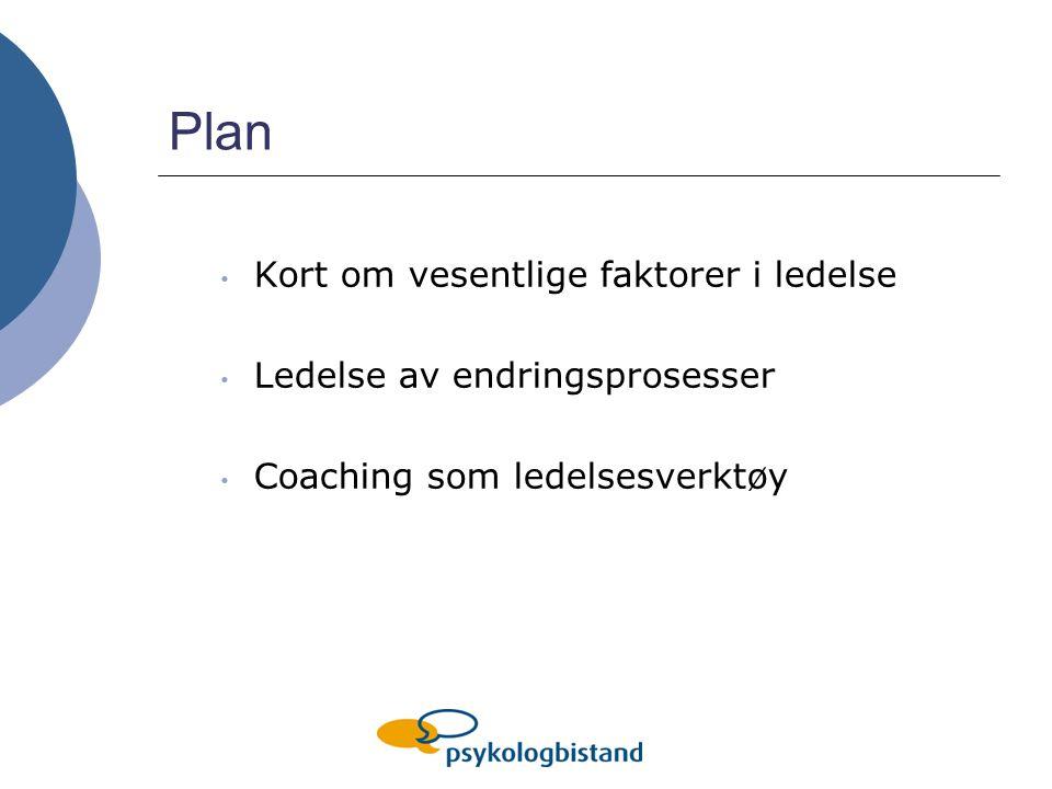 Plan Kort om vesentlige faktorer i ledelse Ledelse av endringsprosesser Coaching som ledelsesverktøy