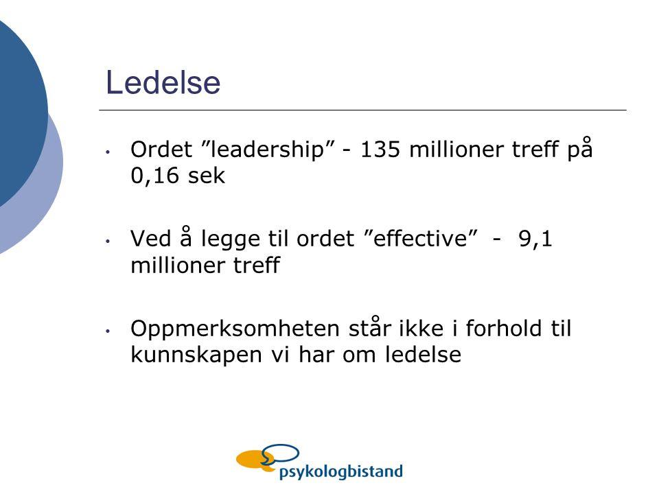 Ledelse Ordet leadership - 135 millioner treff på 0,16 sek Ved å legge til ordet effective - 9,1 millioner treff Oppmerksomheten står ikke i forhold til kunnskapen vi har om ledelse