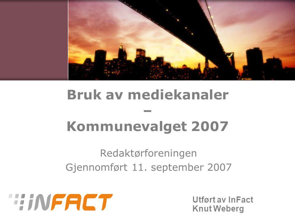 Utført av InFact Knut Weberg Bruk av mediekanaler – Kommunevalget 2007 Redaktørforeningen Gjennomført 11.
