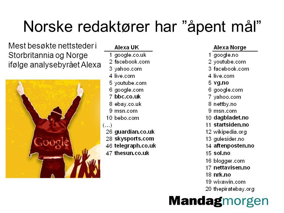 """Norske redaktører har """"åpent mål"""" Mest besøkte nettsteder i Storbritannia og Norge ifølge analysebyrået Alexa"""