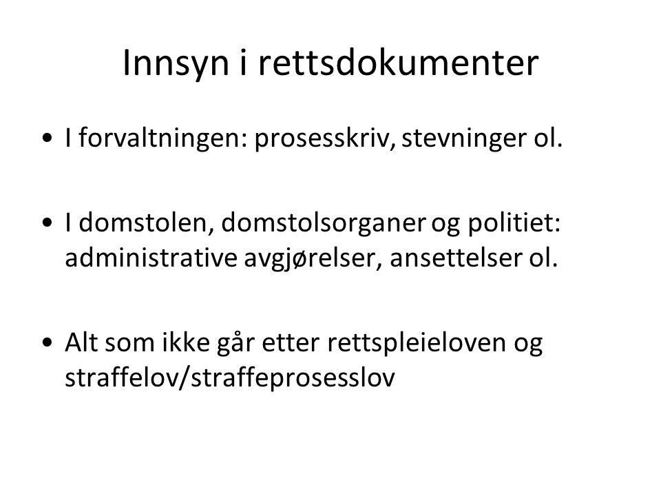 Innsyn i rettsdokumenter I forvaltningen: prosesskriv, stevninger ol.