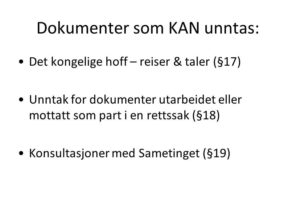 Dokumenter som KAN unntas: Det kongelige hoff – reiser & taler (§17) Unntak for dokumenter utarbeidet eller mottatt som part i en rettssak (§18) Konsultasjoner med Sametinget (§19)