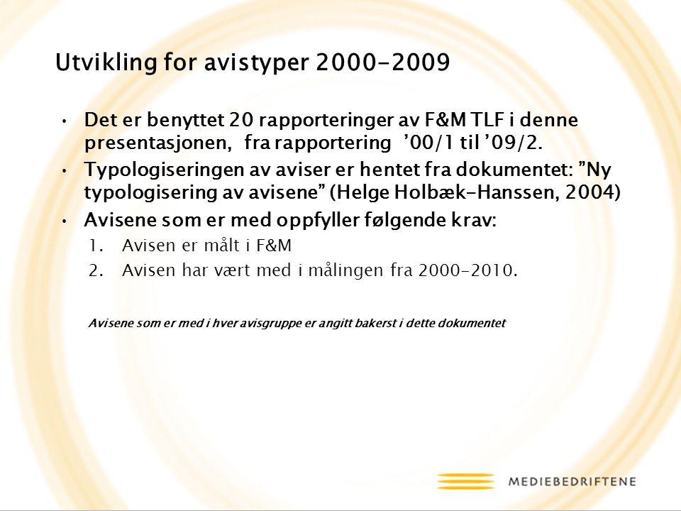 Utvikling for avistyper 2000-2009 Det er benyttet 20 rapporteringer av F&M TLF i denne presentasjonen, fra rapportering '00/1 til '09/2.