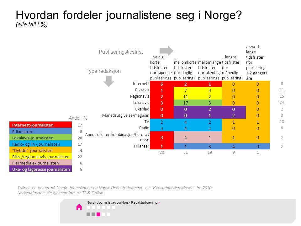 Hvordan fordeler journalistene seg i Norge.